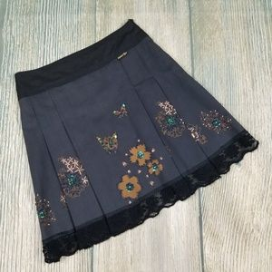 New CHANNEL ONE black beaded lace trim skirt